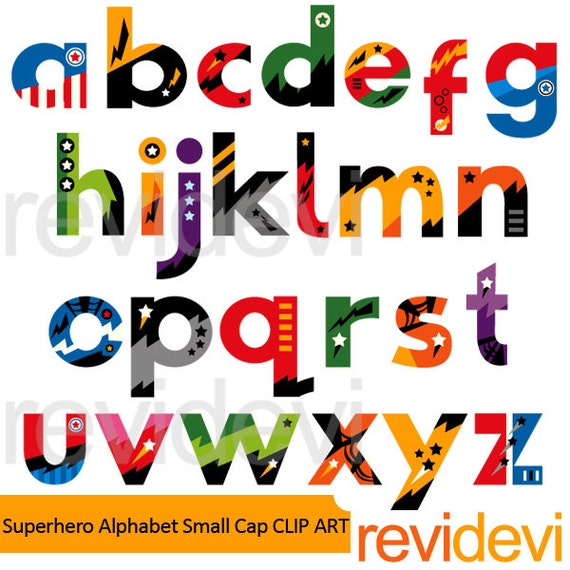 Superhero Clipart Superhero Alphabet Small Caps Clip Art Lowercase Letters Clipart Digital Images Instant Download Commercial Use