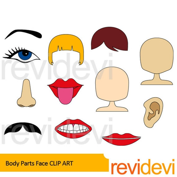Body parts clipart body parts face clip art the body | Etsy