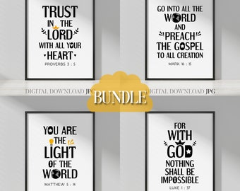 Minimalist bible verse wall art bundle Vol. 3 - Simple black and white design - Christian quotes posters for home decor