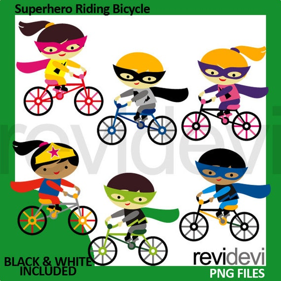 Superhero Riding Bicycle Clipart Kids Ride Bike Clip Art