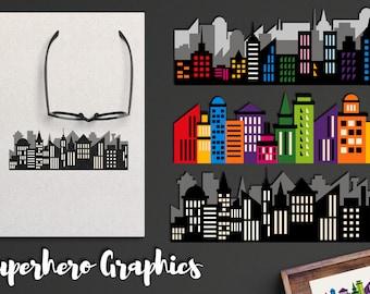Superhero clip art - Superhero buildings clipart - City Skyline clip art, instant download