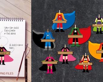 Superhero body holds board clip art, digital download