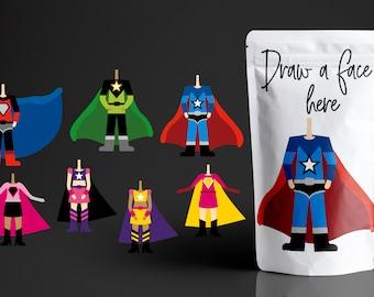 Superhero body, back to school clip art - Multiracial boys and girls
