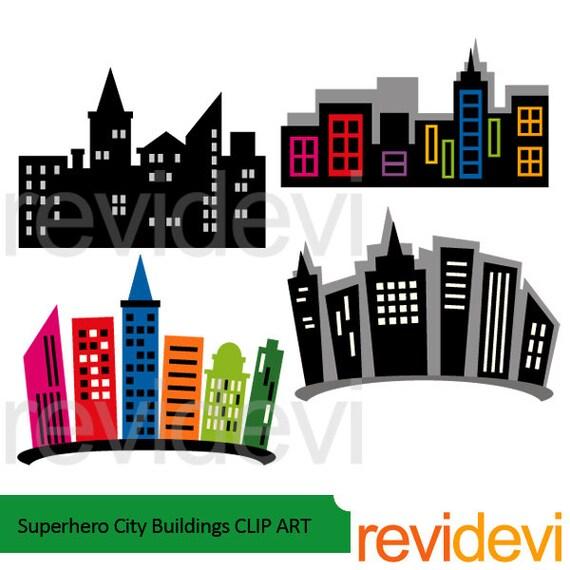 superhero city buildings clipart building blocks clip art etsy rh etsy com city landscape buildings clipart City Scene Clip Art
