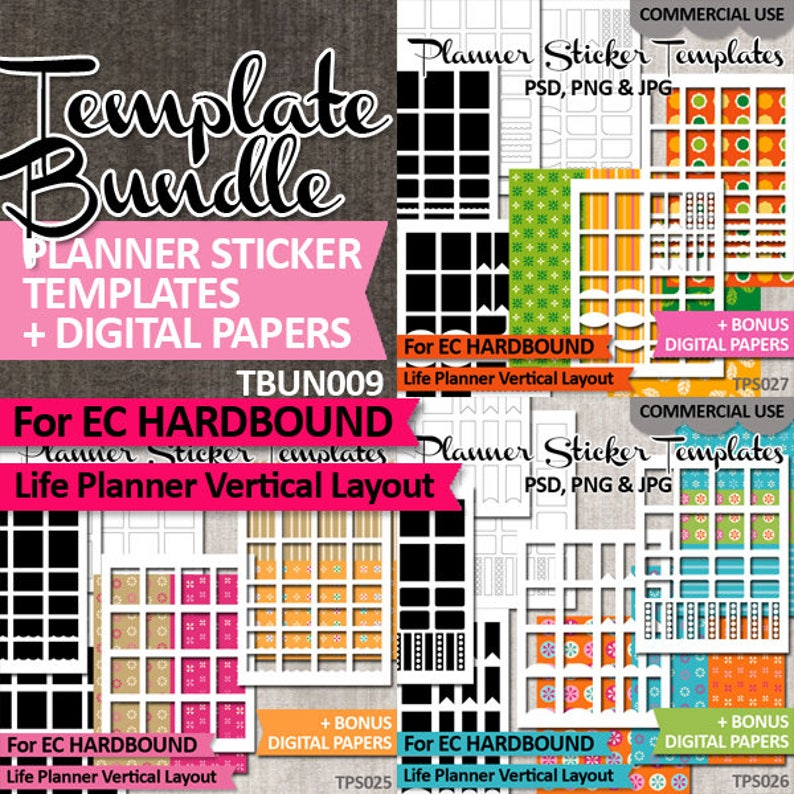 photograph regarding Diy Planner Templates called Do-it-yourself Planner stickers, templates deal sale / Erin Condren Hardbound Existence Planner Vertical Style and design / Professional seek the services of package, down load