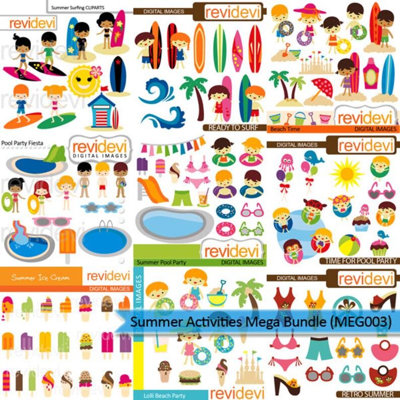 Summer Clipart Mega Bundle Sale Summer Activities Clip Art Etsy