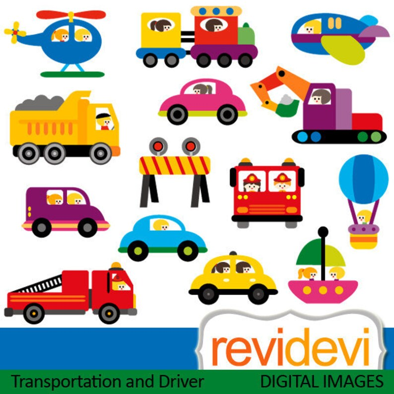 Transportation and vehicles drivers clip art  Cars, construction trucks,  planes graphics download