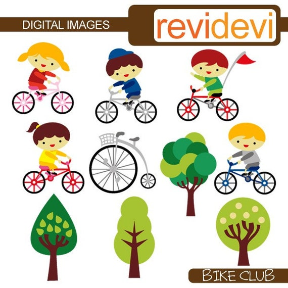 Kids Riding Bicycle Clipart Sale Bike Club Boys Girls Ride