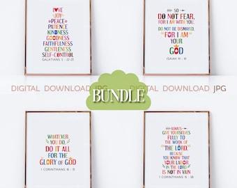 Bible verses wall art bundle Vol. 4 - Christian sayings, bible quotes poster for Sunday school, kids room, nursery decor, JPG files