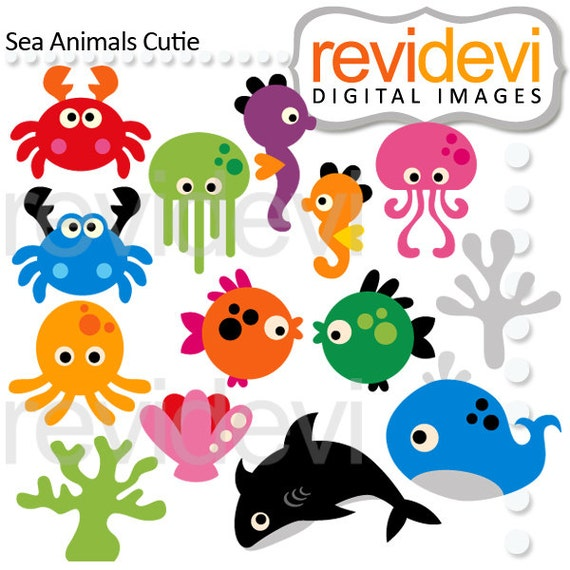 sea animals clipart best selling clip art cute ocean etsy rh etsy com ocean animals clip art for kids ocean animals clipart