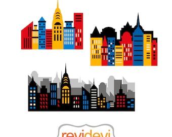 City buildings clip art, red blue yellow. Superhero city skyline, skyscraper digital images