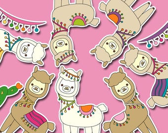 Llama clipart commercial use, kawaii cute alpaca clip art download, digital images, illustration