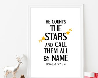 Minimalist wall art. Bible verse poster. He counts the stars and call them all by name. Psalm 147:4. Digital download