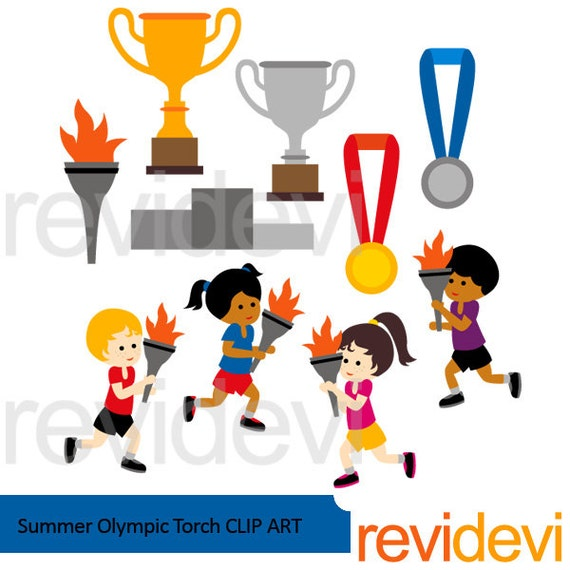 Summer Olympic Torch Clipart Kids Running Medals Trophy