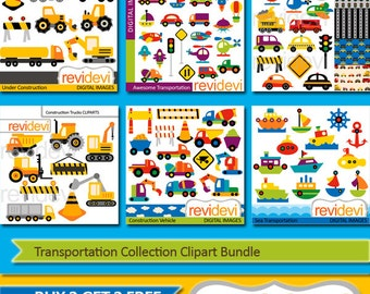 Transportation Collection Clipart Bundle sale / cars, construction trucks, boat, planes digital clip art - commercial use, instant download