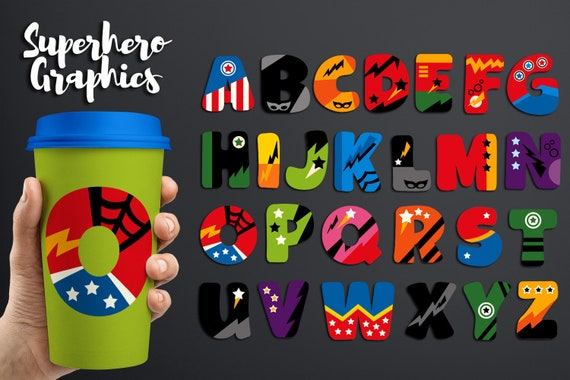 Superhero Alphabet Clipart Big Caps Uppercase ABC
