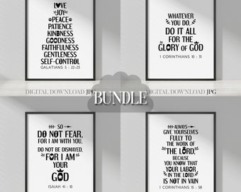 Minimalist bible quotes wall art bundle Vol. 4, black and white design. Christian bible verses posters for home decor