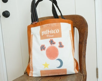 Tote Bag From Orange and Black Sun-Moon-Star Flour Sack