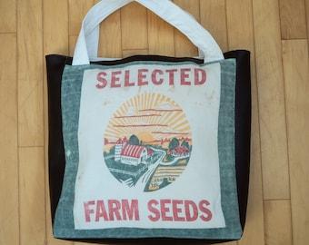 Tote Bag From Vintage Ohio Harvest Farm Seed Sack