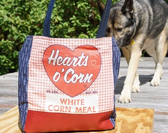 """Simple Blue & Red Market Bag From 1950's """"Hearts of Corn"""" Corn Meal Sack"""