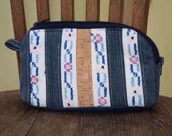Recycled Denim Embroidered Wrist Purse