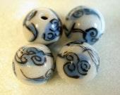 Vintage PORCELAIN Beads Chinese blue white 11mm pkg4 por26a