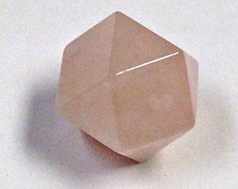 VINTAGE ROSE QUARTZ Hand Carved Cuboid Octahedron Bead 14 X14 Mm Pkg 1 Cb211