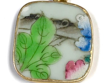 ANTIQUE Chinese PORCELAIN Shard PENDANT Qing Dynasty Green Leaves pt45