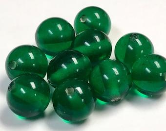 Vintage GLASS BEADS Clear Dark Green 11.5mm pkg10 gl2