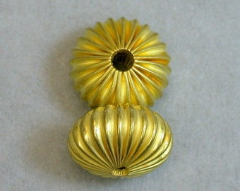 Vintage Brass Beads RIBBED Yellow ABACUS 20mm pkg 2 m72