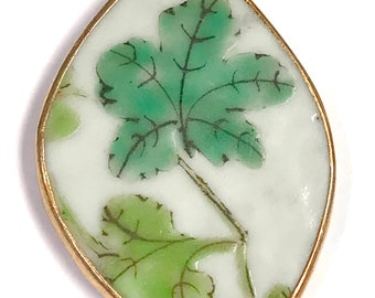 ANTIQUE Chinese PORCELAIN Shard PENDANT Qing Dynasty Green Leaves pt42