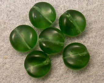 VINTAGE GLASS BEADS German Dark Malachite Green Curved 8mm pkg6 gl869