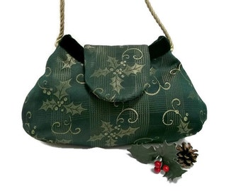 Christmas Purse , Forest Green Holly Print Evening Bag , Women's Handmade Holiday Handbag