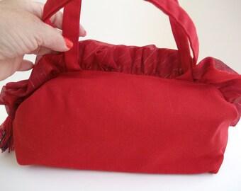 CLEARANCE , Canvas Purse , Red Shoulder Bag , Ruffle Purse , Womens Handbag , Pocketbook , Holiday Handbag , Gift For Her