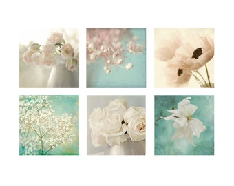 Six Ethereal Flower Prints, Floral Art Print Set, Housewarming Gift,  Flower Photography, Shabby Chic Wall Decor