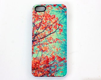 Red Leaves  IPhone 5 Case,  Fall Foliage Case, Women's Accessory, Original Photograph, Ready to Ship, Red, Turquoise