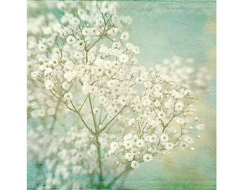 Baby's Breath Print, Flower Photography,  Hygge Decor, White Mint Bedroom Wall Art, Shabby Chic Wall Decor
