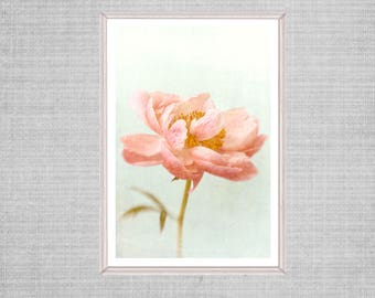 Printable Peony Art, Asian Inspired Art Poster, Large Art,  Peony Flower Print, Coral, Apricot Mint Wall Decor