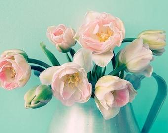 Pink Tulip Art, Flower Photography, Pink Turquoise  Wall Decor, Floral Art Pint,  Flower Still Life