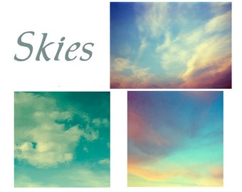 Sky Landscape  Photographs, Modern Wall Decor,  Three Prints, Azure Skies, Clouds, Sunset Wall Decor