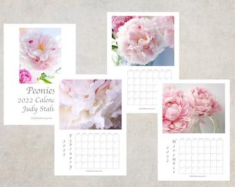 2022 Peony Flower Calendar, Desk Calendar 5 x 7, Wall Calendar 8 1/2 x 11, 2022 Peony Floral Photo Calendar