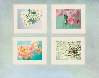 Floral Art Print Set of 4, Flower Photography, Daisy, Peony, Ranunculus, Queen Anne's Lace