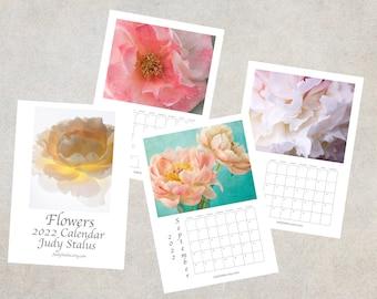 2022  Flower Calendar, Desk Calendar 5 x 7, Wall Calendar 8 1/2 x 11, 2022  Floral Photo Calendar, Rose, Peony, Poppy