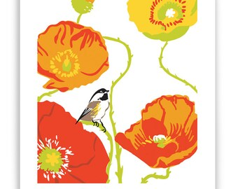 """ART1: Poppies and Chickadee 8"""" x 10"""" Art Reproduction"""