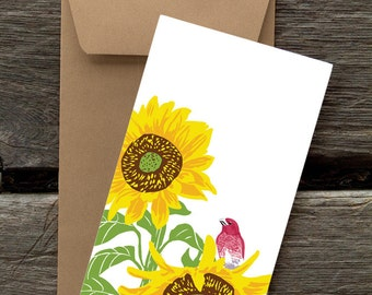 BF141: Purple Finch in Sunflower - Pack of 8 eco-friendly flat cards