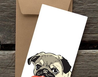 BF46: Pug with Heart - 8 Blank flat notecards and envelopes