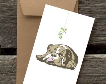 BFHOL5: Bulldog with Mistletoe - 8 Blank flat cards and envelopes