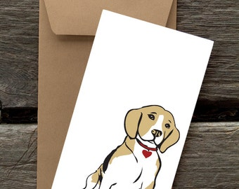 BF50: Beagle with Heart -- 8 Blank flat cards and envelopes