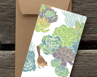 BF99: Towhee and Succulents -- 8 Blank flat cards and envelopes