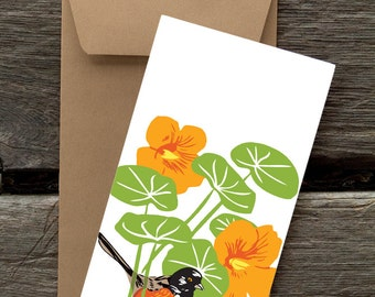 BF58: Towhee and Nasturtium - 8 Blank flat cards and envelopes